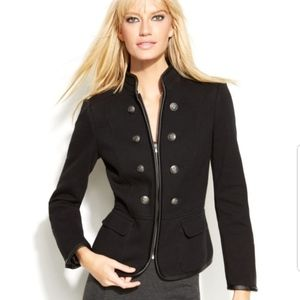 INC black faux leather trim military jacket